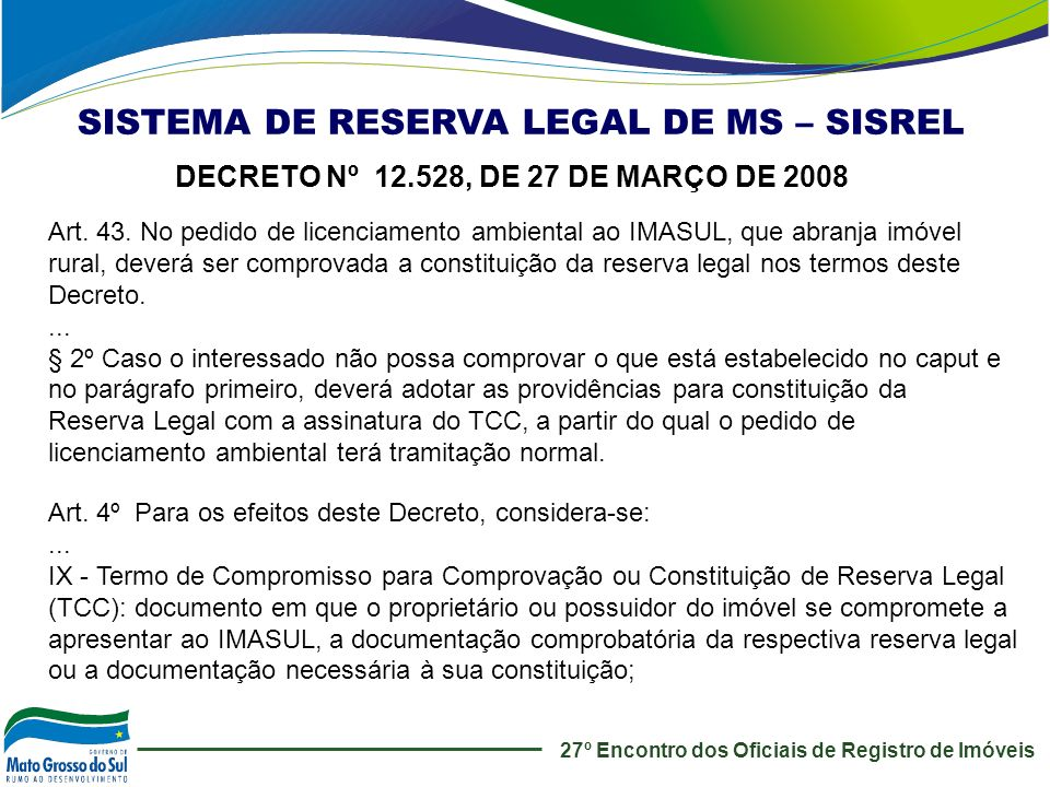 SISTEMA DE RESERVA LEGAL DE MS – SISREL