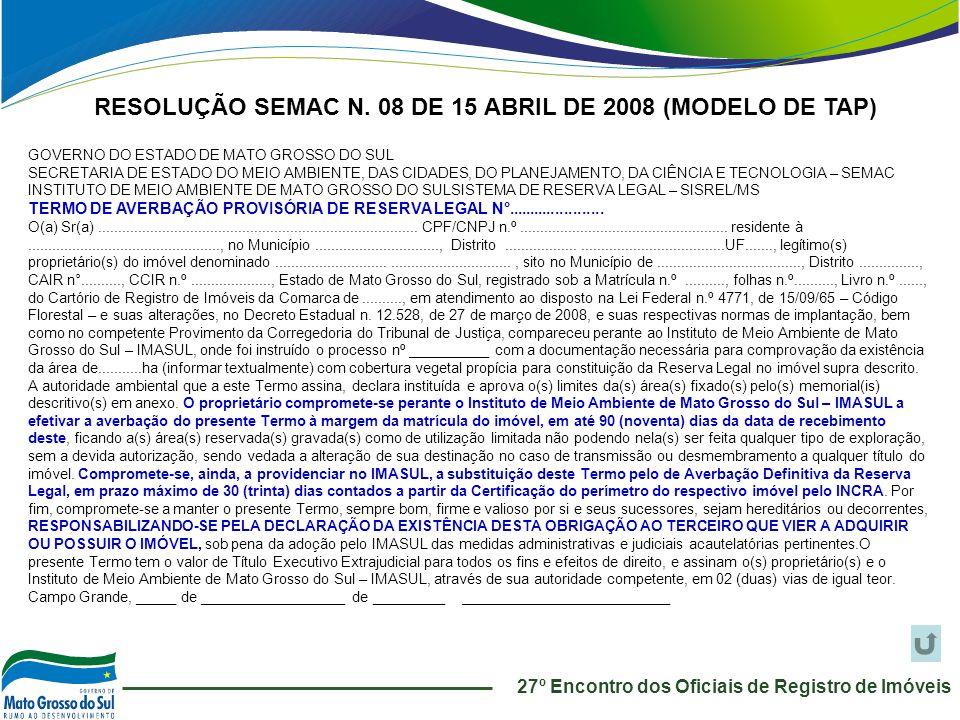 RESOLUÇÃO SEMAC N. 08 DE 15 ABRIL DE 2008 (MODELO DE TAP)