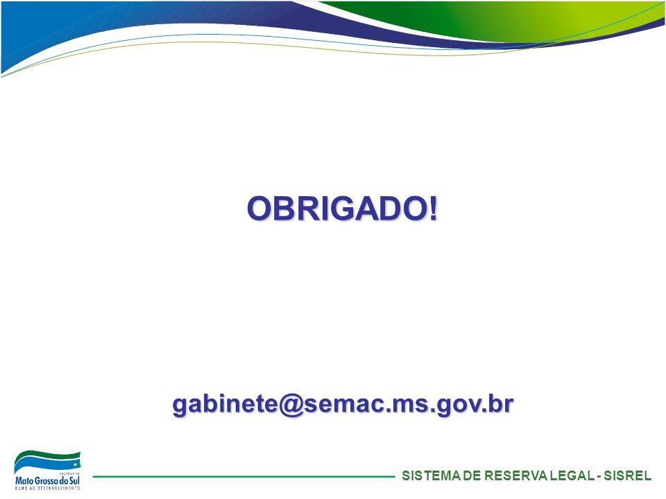 OBRIGADO! gabinete@semac.ms.gov.br SISTEMA DE RESERVA LEGAL - SISREL