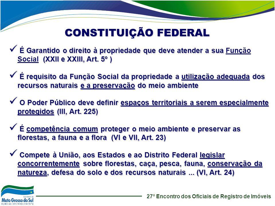 CONSTITUIÇÃO FEDERAL É Garantido o direito à propriedade que deve atender a sua Função Social (XXII e XXIII, Art. 5º )
