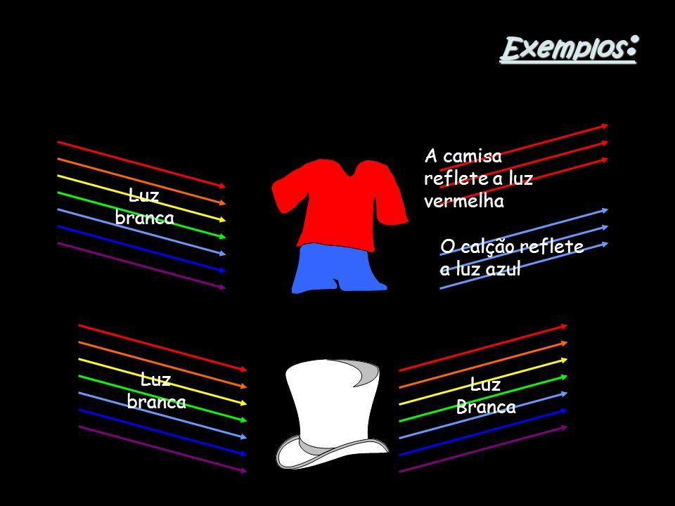 Exemplos: A camisa reflete a luz vermelha Luz branca