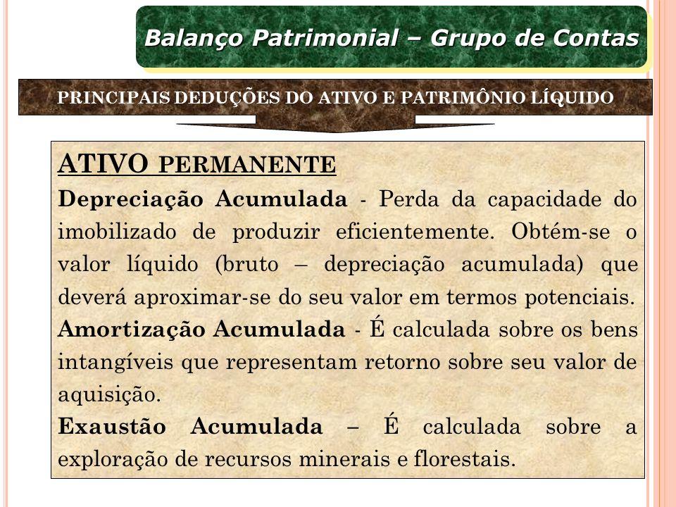 ATIVO PERMANENTE Balanço Patrimonial – Grupo de Contas