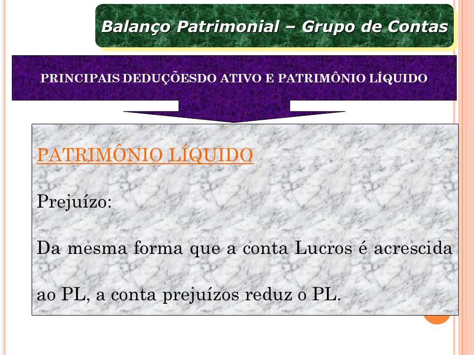 PATRIMÔNIO LÍQUIDO Prejuízo: