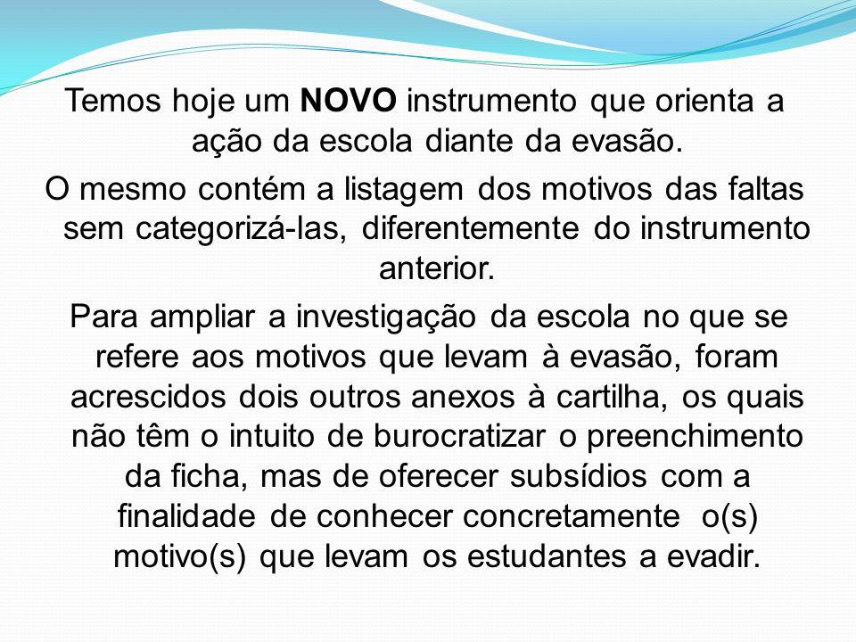 Temos hoje um NOVO instrumento que orienta a ação da escola diante da evasão.