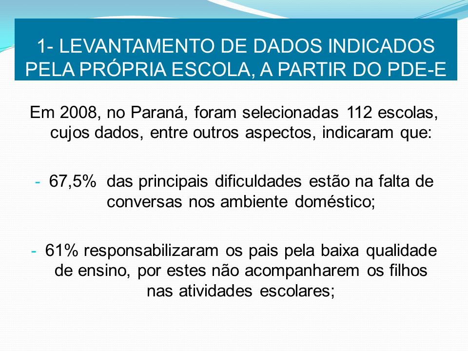 1- LEVANTAMENTO DE DADOS INDICADOS PELA PRÓPRIA ESCOLA, A PARTIR DO PDE-E