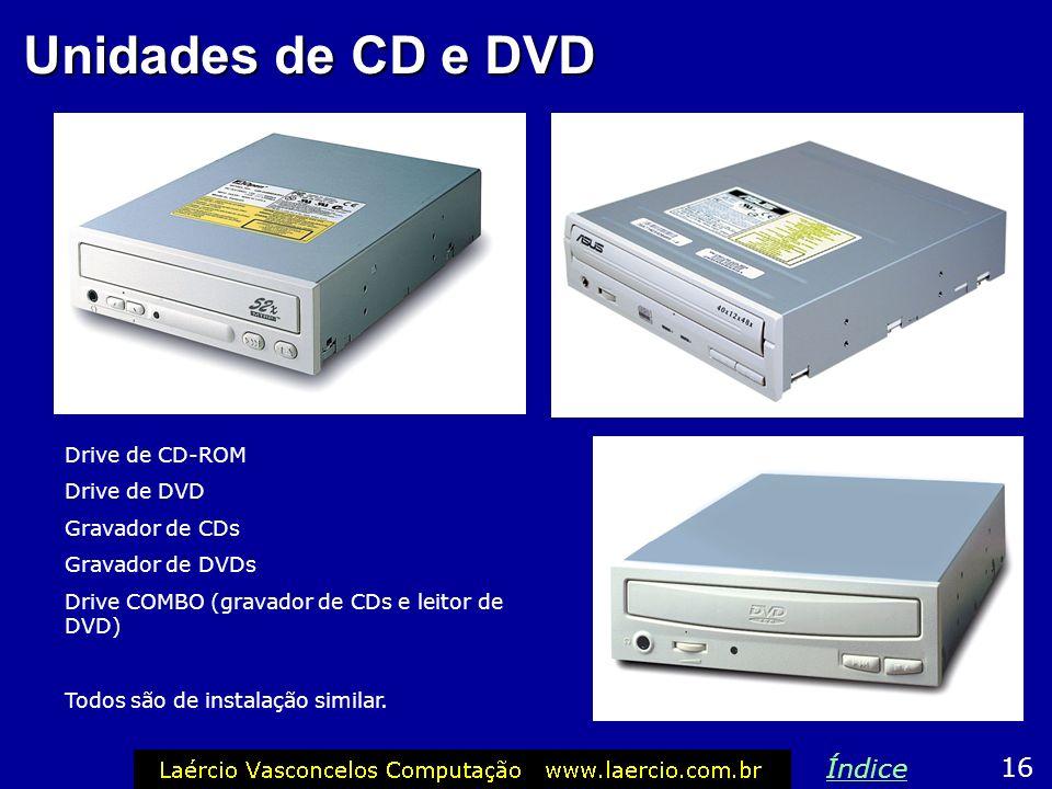 Unidades de CD e DVD Índice 16 Drive de CD-ROM Drive de DVD