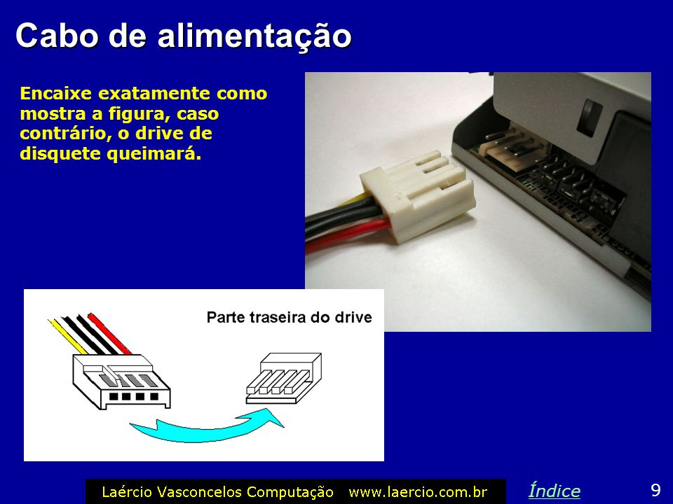 Cabo de alimentação Encaixe exatamente como mostra a figura, caso contrário, o drive de disquete queimará.