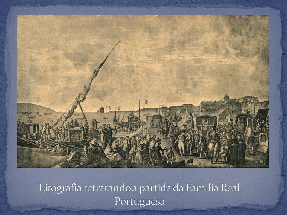 Litografia retratando a partida da Família Real Portuguesa
