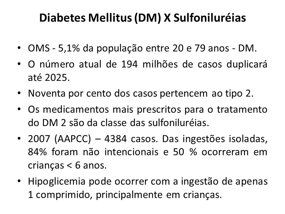 Diabetes Mellitus (DM) X Sulfoniluréias