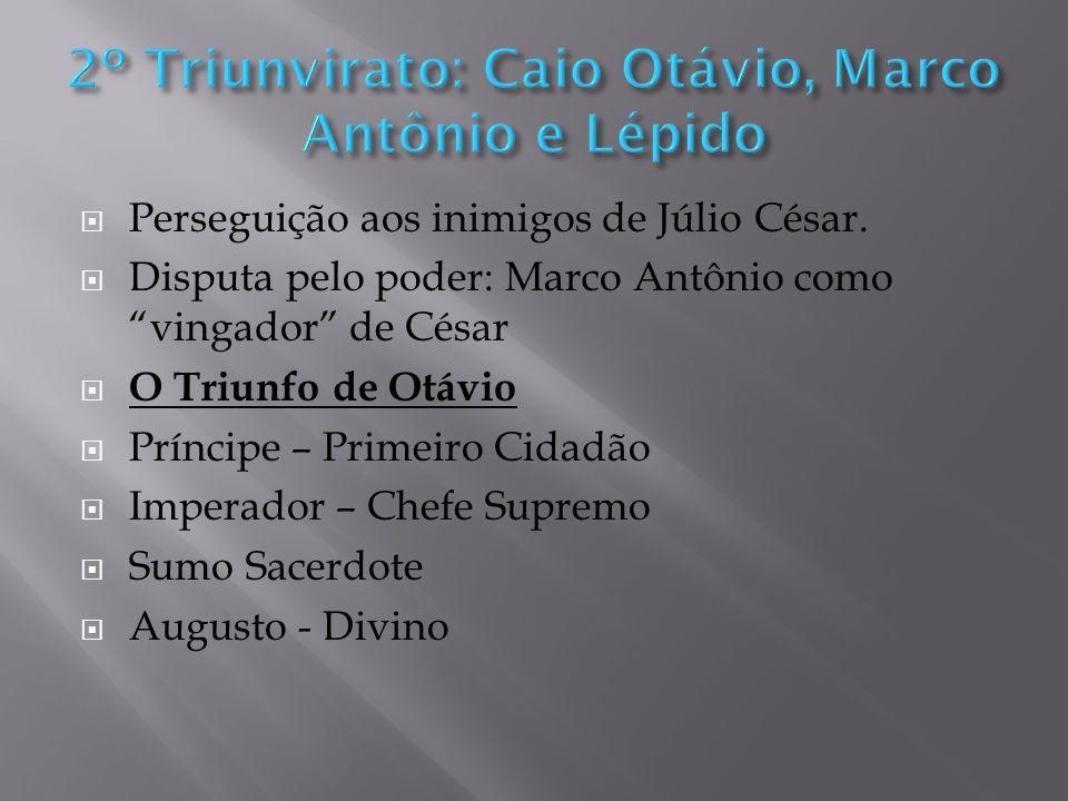2º Triunvirato: Caio Otávio, Marco Antônio e Lépido