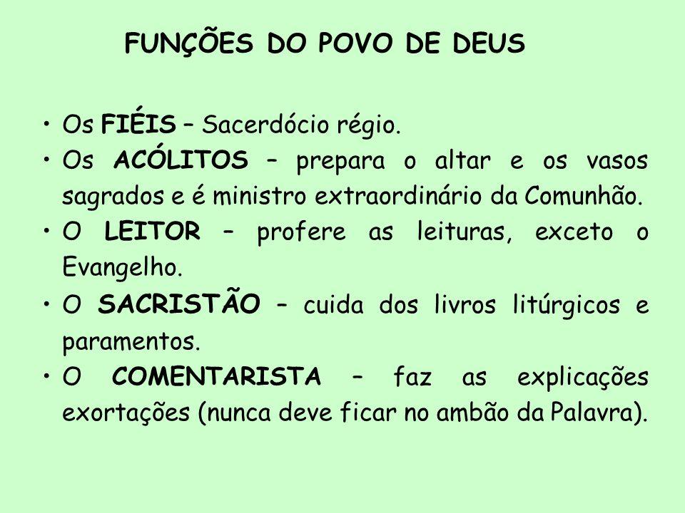FUNÇÕES DO POVO DE DEUS Os FIÉIS – Sacerdócio régio.