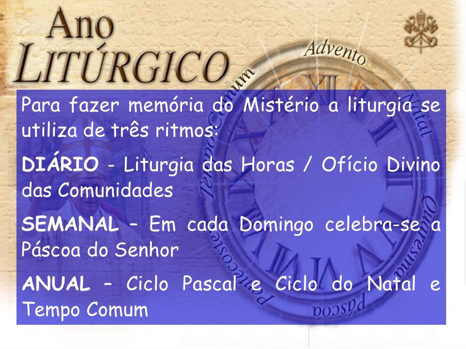 Para fazer memória do Mistério a liturgia se utiliza de três ritmos: