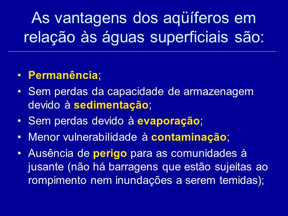 As vantagens dos aqüíferos em relação às águas superficiais são: