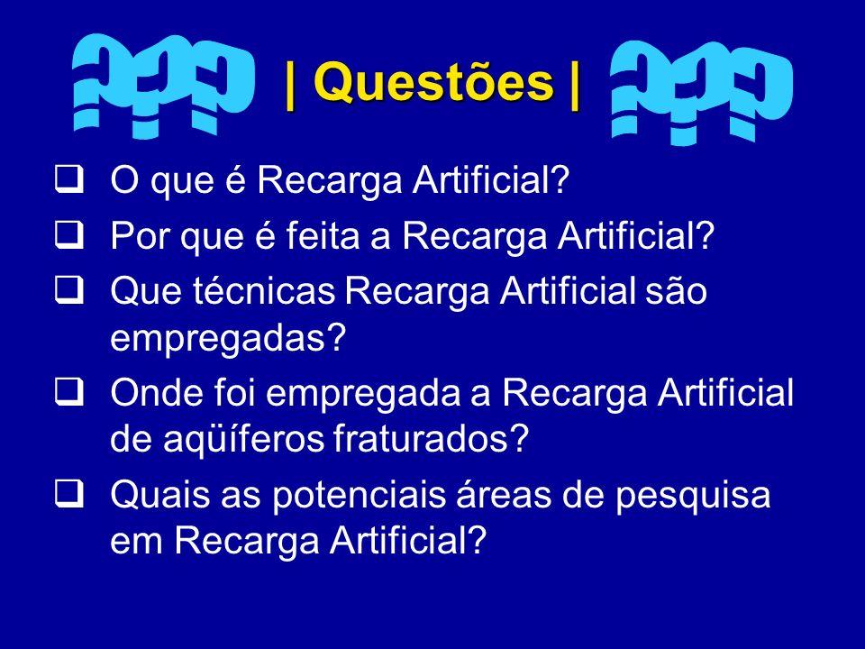 | Questões | O que é Recarga Artificial