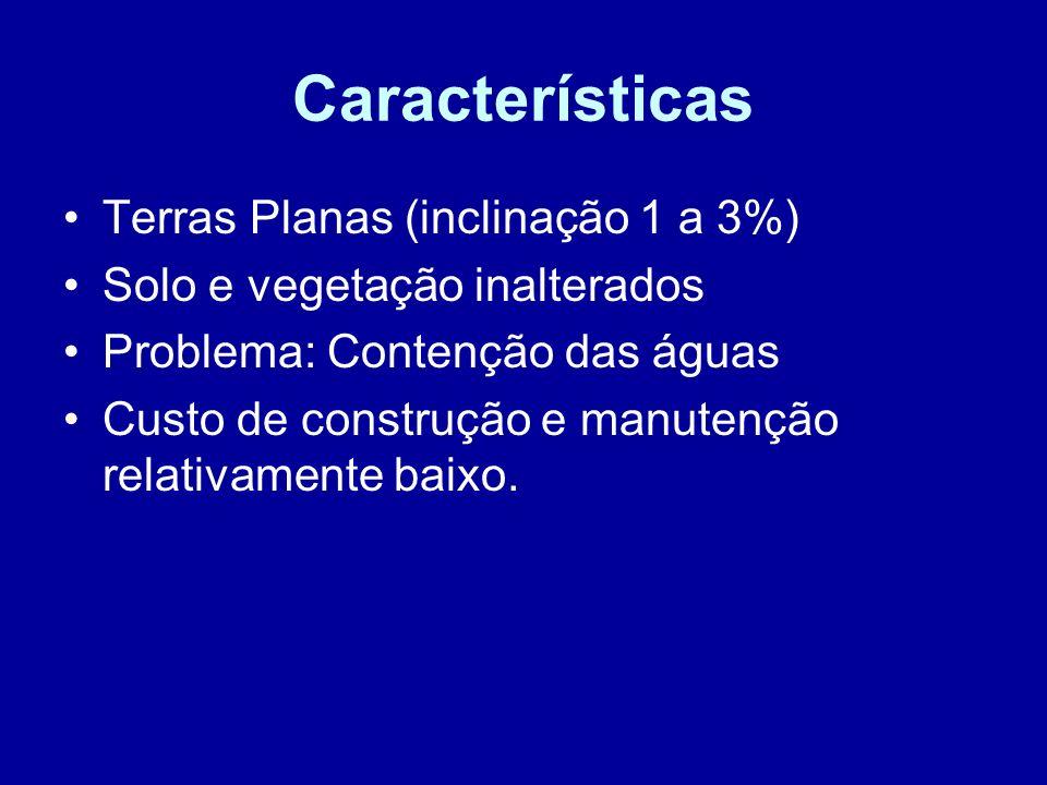 Características Terras Planas (inclinação 1 a 3%)