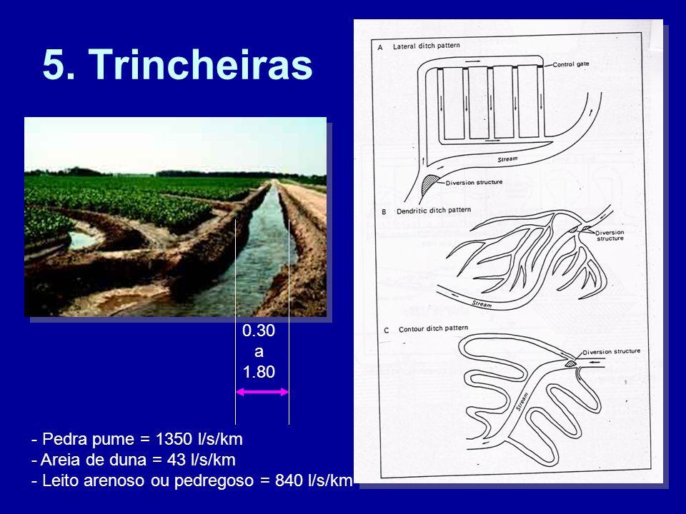 5. Trincheiras 0.30 a 1.80 - Pedra pume = 1350 l/s/km