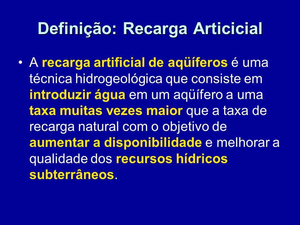 Definição: Recarga Articicial