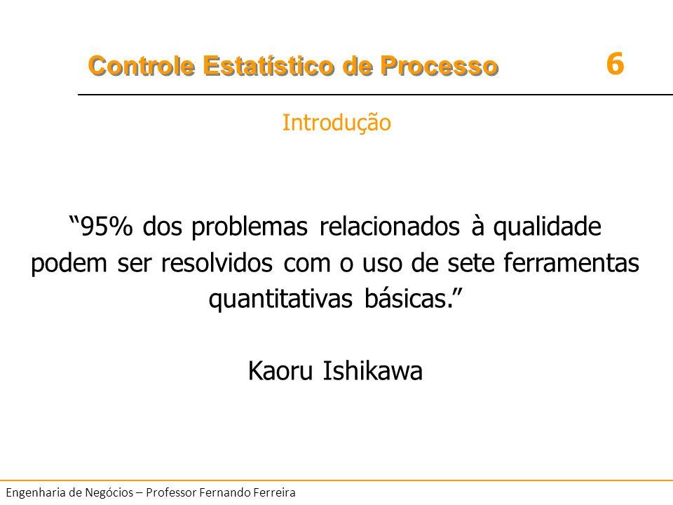 Introdução 95% dos problemas relacionados à qualidade podem ser resolvidos com o uso de sete ferramentas quantitativas básicas.