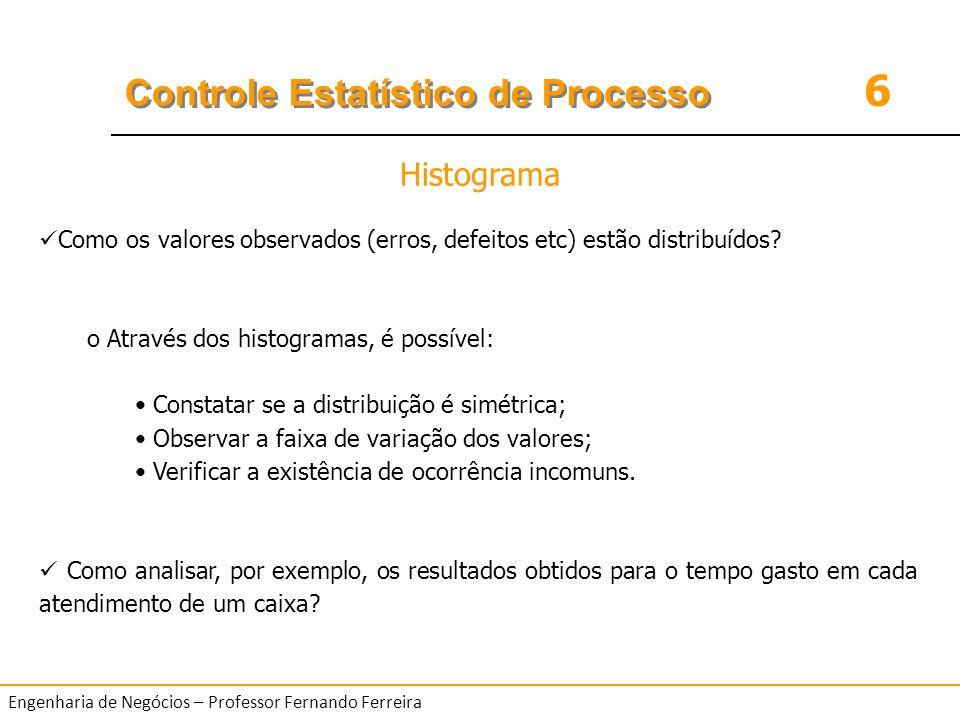 Histograma Como os valores observados (erros, defeitos etc) estão distribuídos Através dos histogramas, é possível: