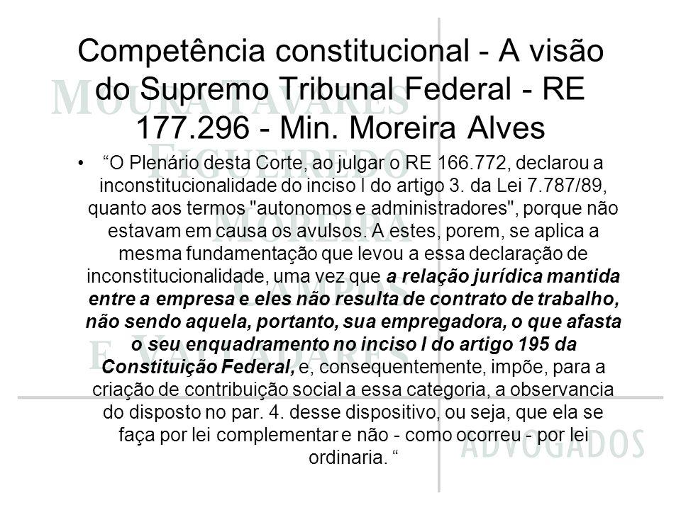 Competência constitucional - A visão do Supremo Tribunal Federal - RE 177.296 - Min. Moreira Alves
