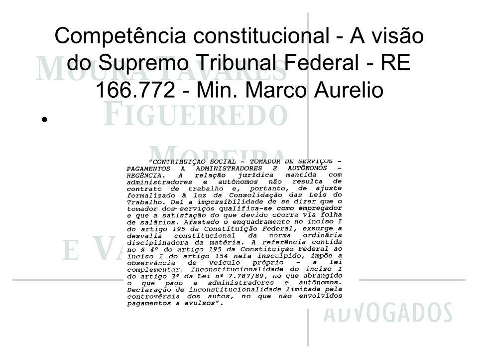 Competência constitucional - A visão do Supremo Tribunal Federal - RE 166.772 - Min. Marco Aurelio