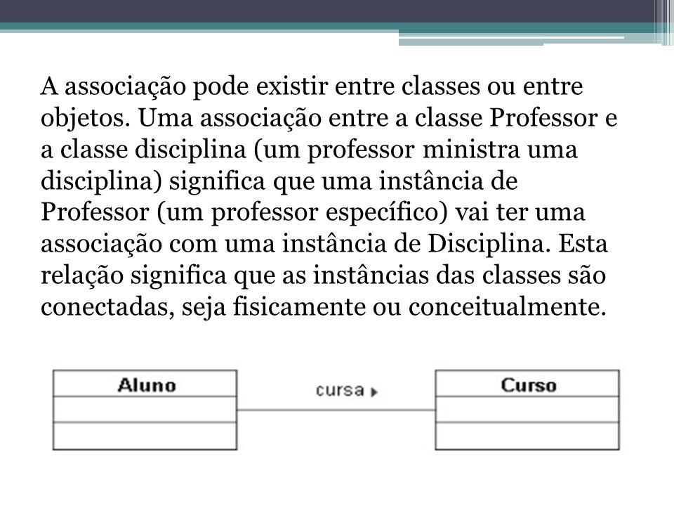 A associação pode existir entre classes ou entre objetos