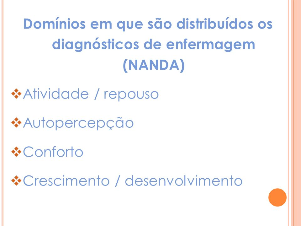 Domínios em que são distribuídos os diagnósticos de enfermagem (NANDA)