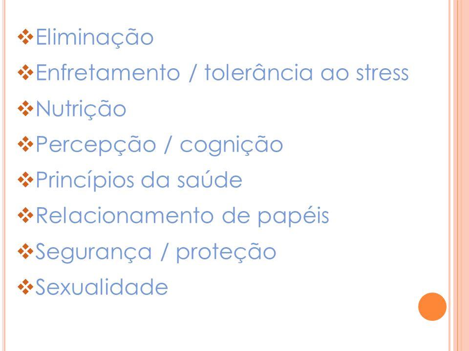 Eliminação Enfretamento / tolerância ao stress. Nutrição. Percepção / cognição. Princípios da saúde.