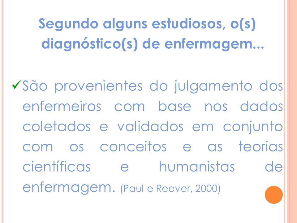 Segundo alguns estudiosos, o(s) diagnóstico(s) de enfermagem...
