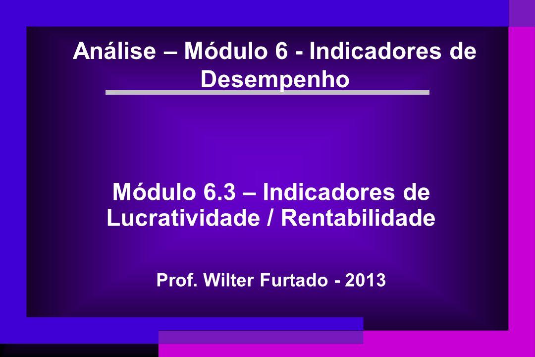 Módulo 6.3 – Indicadores de Lucratividade / Rentabilidade