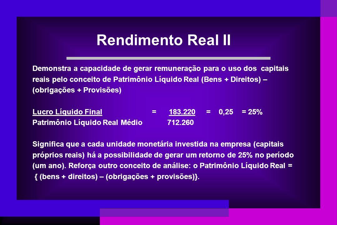 Rendimento Real II Demonstra a capacidade de gerar remuneração para o uso dos capitais.