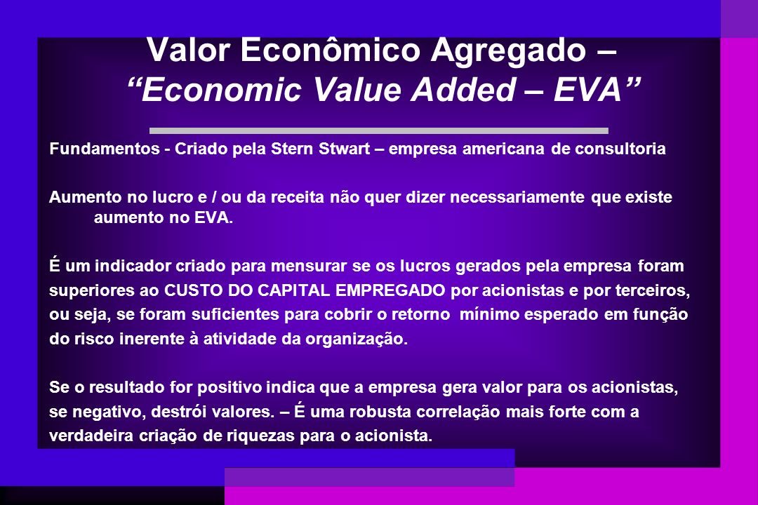 Valor Econômico Agregado – Economic Value Added – EVA