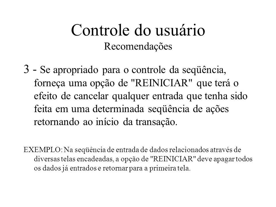 Controle do usuário Recomendações
