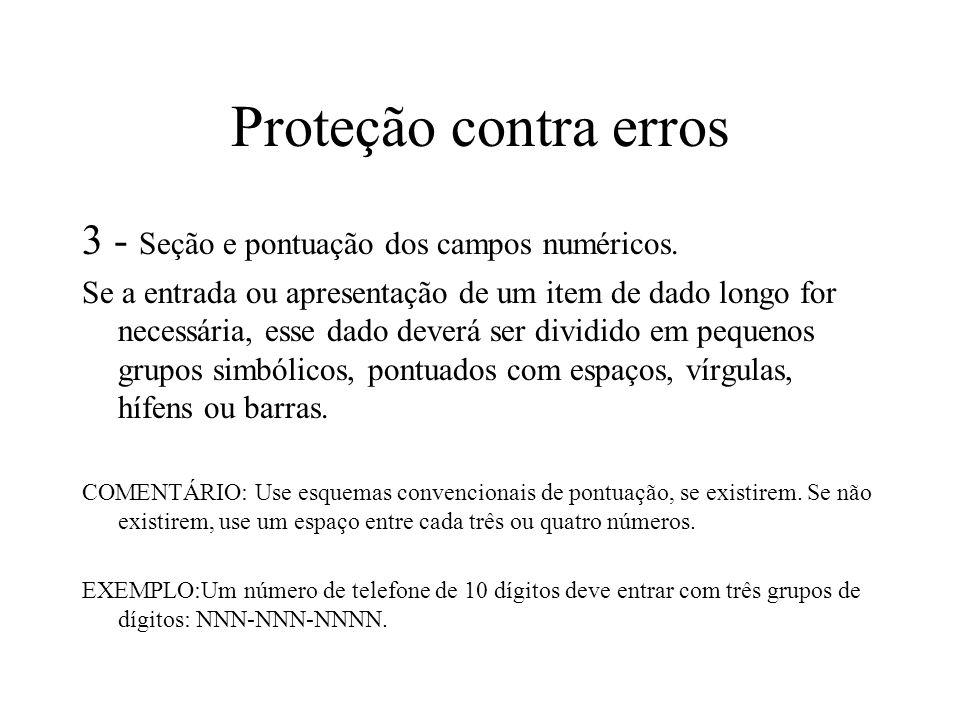 Proteção contra erros 3 - Seção e pontuação dos campos numéricos.