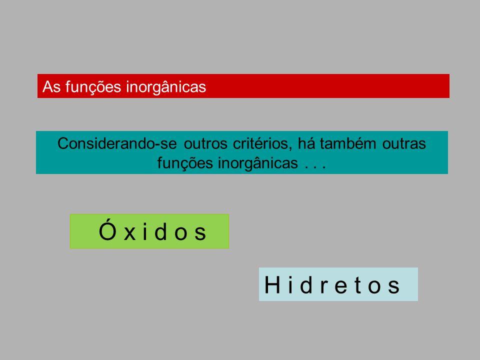 Ó x i d o s H i d r e t o s As funções inorgânicas
