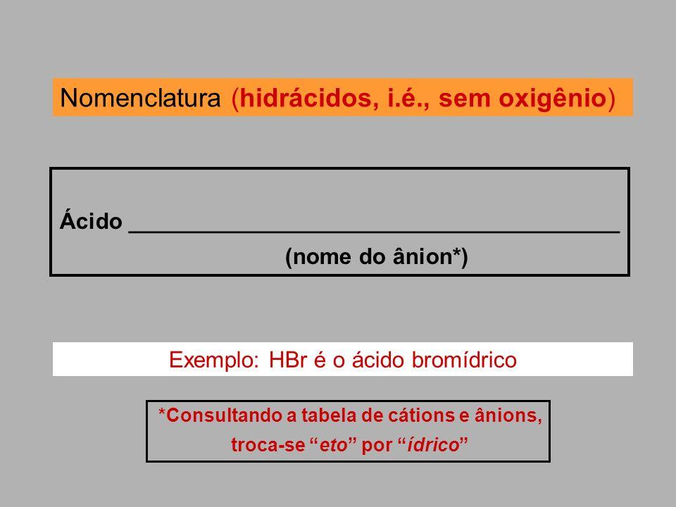 Nomenclatura (hidrácidos, i.é., sem oxigênio)