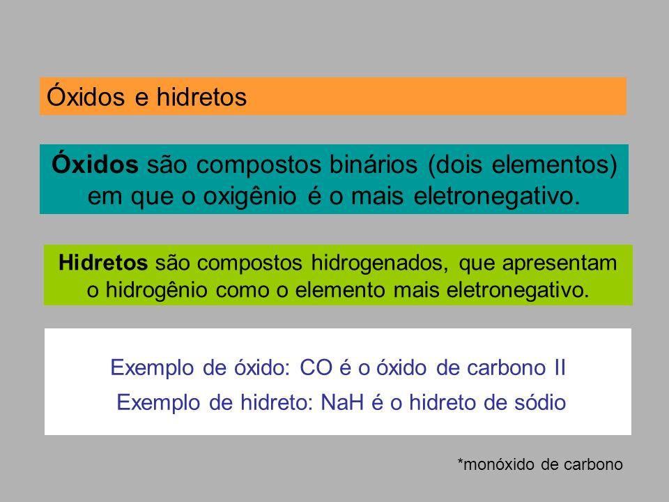 Óxidos e hidretos Óxidos são compostos binários (dois elementos) em que o oxigênio é o mais eletronegativo.