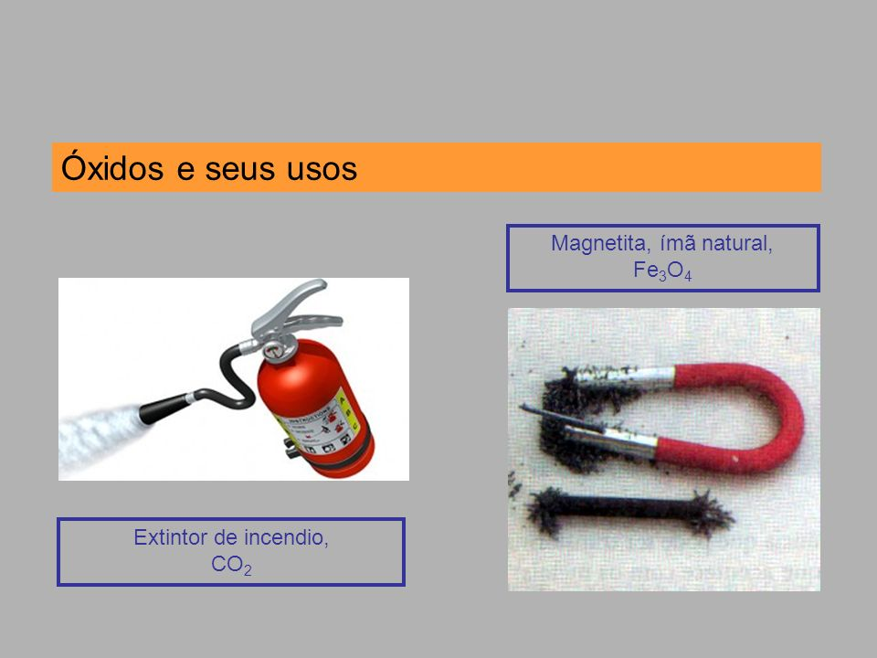 Óxidos e seus usos Magnetita, ímã natural, Fe3O4 Extintor de incendio,
