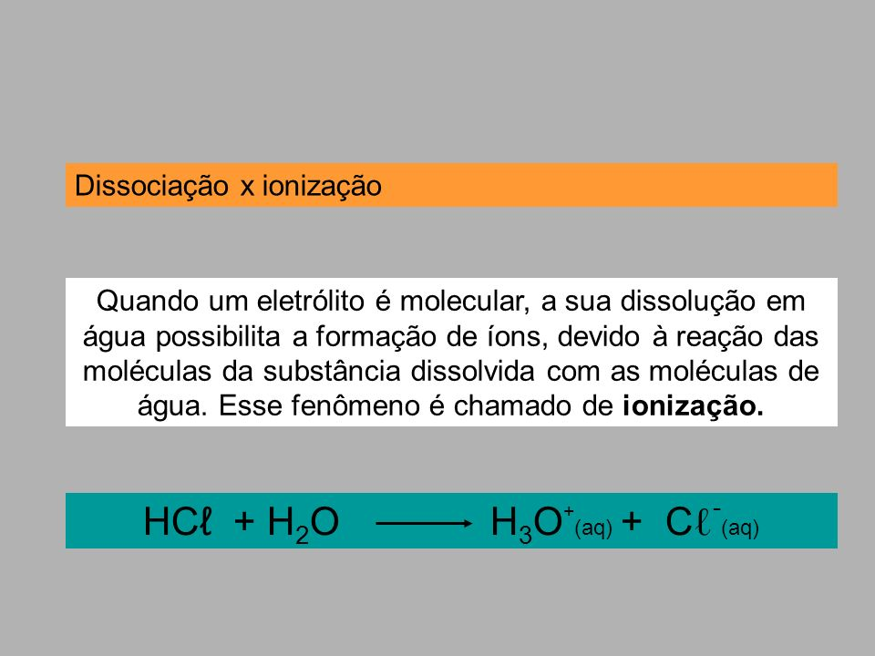 HCℓ + H2O H3O+(aq) + Cℓ-(aq)