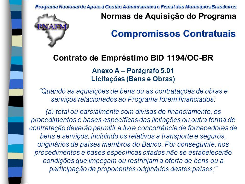Contrato de Empréstimo BID 1194/OC-BR Licitações (Bens e Obras)