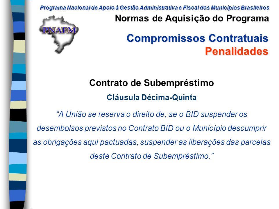 Contrato de Subempréstimo Cláusula Décima-Quinta