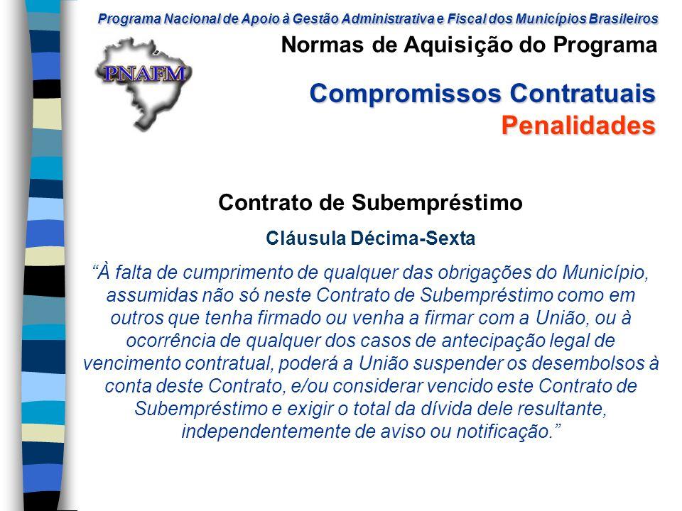Contrato de Subempréstimo Cláusula Décima-Sexta