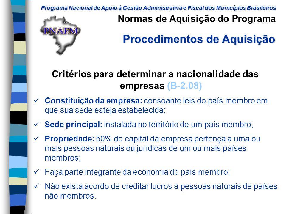 Critérios para determinar a nacionalidade das empresas (B-2.08)