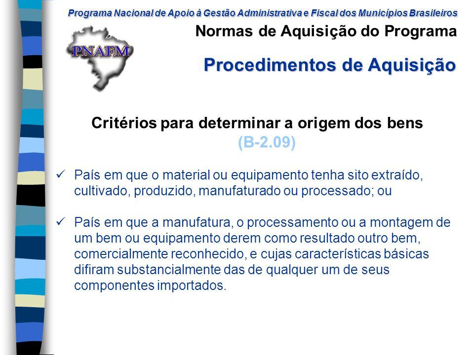 Critérios para determinar a origem dos bens (B-2.09)