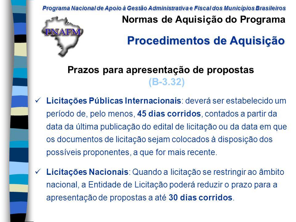 Prazos para apresentação de propostas (B-3.32)