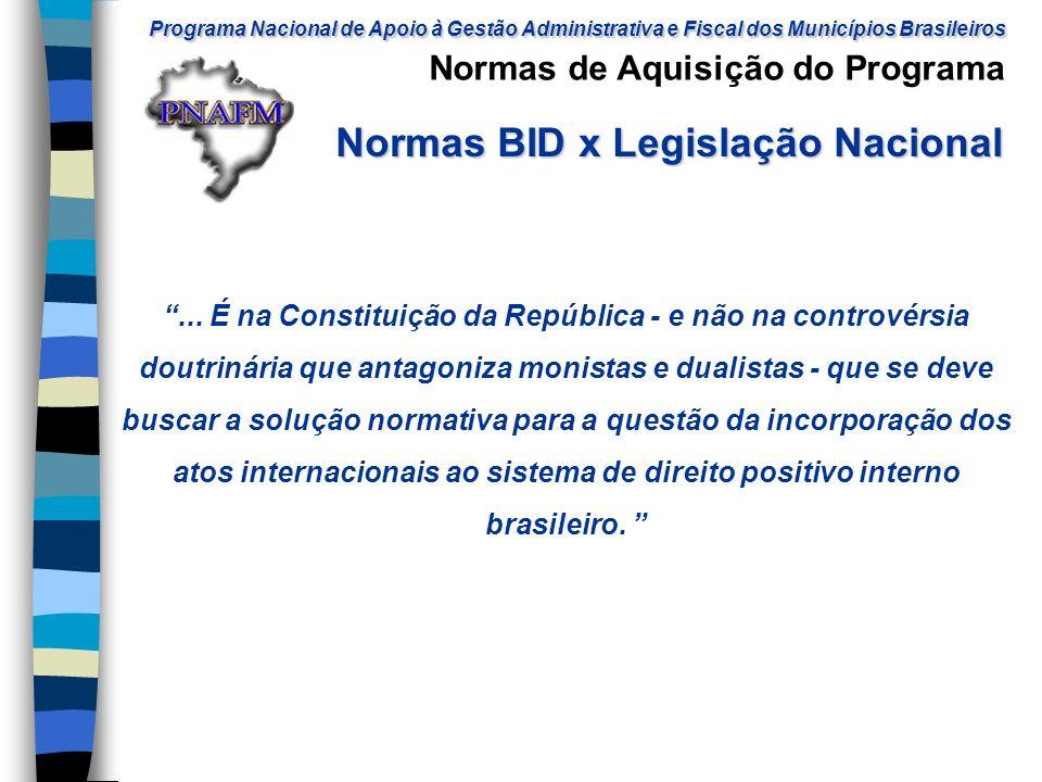 Normas BID x Legislação Nacional