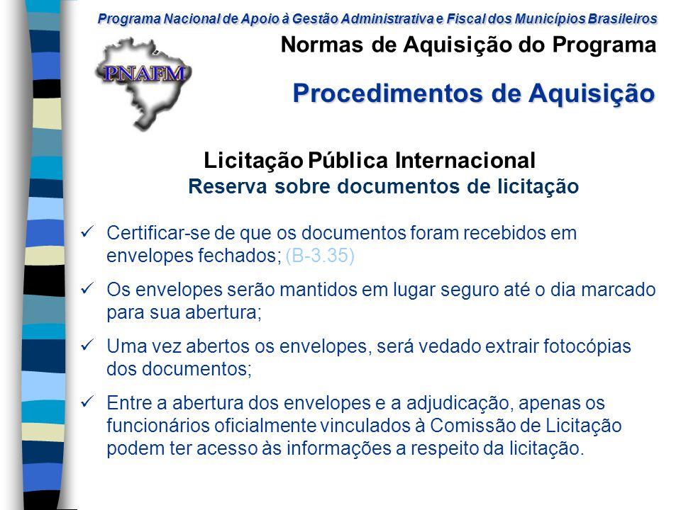 Licitação Pública Internacional Reserva sobre documentos de licitação