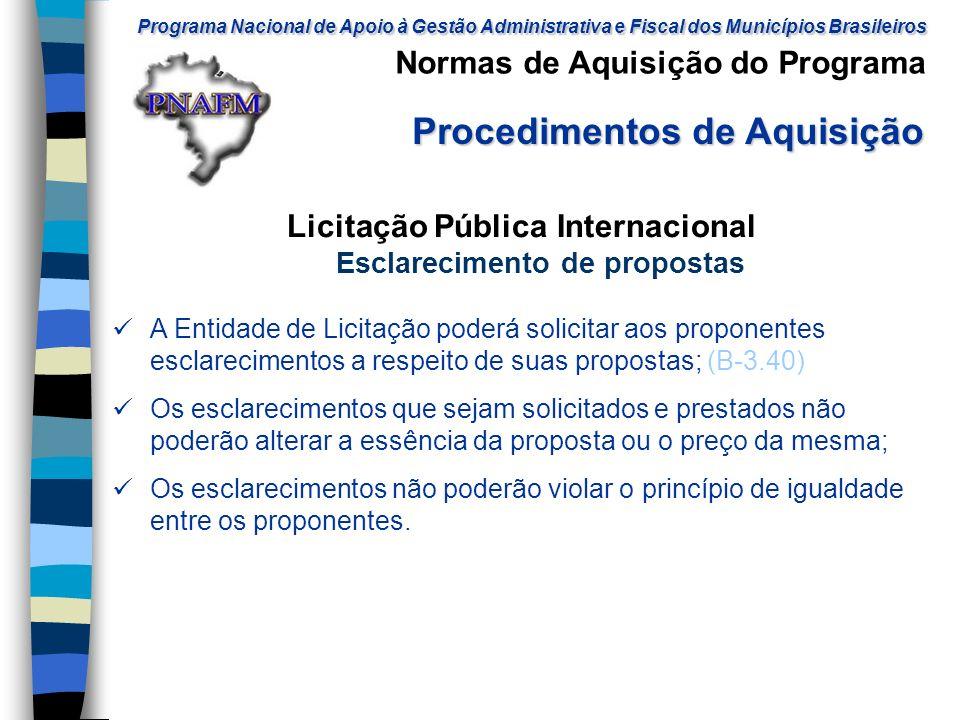 Licitação Pública Internacional Esclarecimento de propostas
