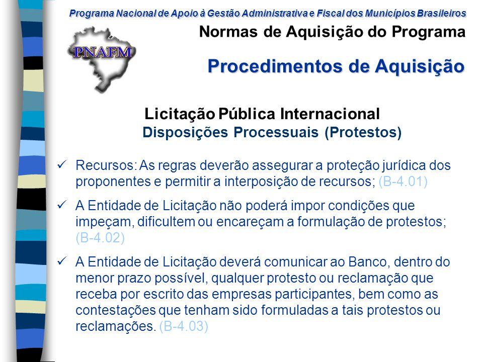Licitação Pública Internacional Disposições Processuais (Protestos)