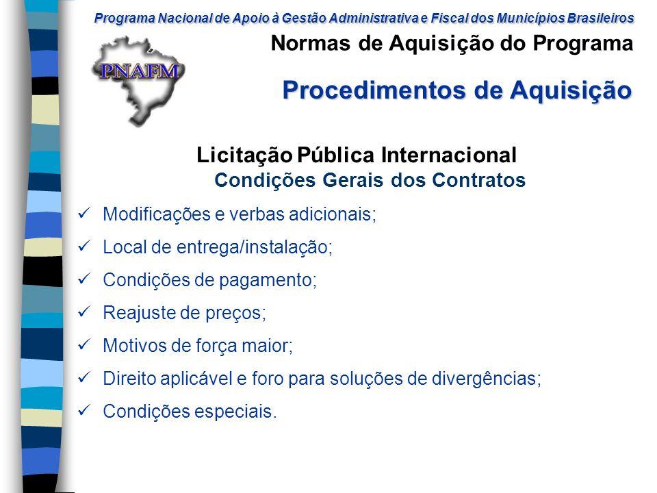 Licitação Pública Internacional Condições Gerais dos Contratos